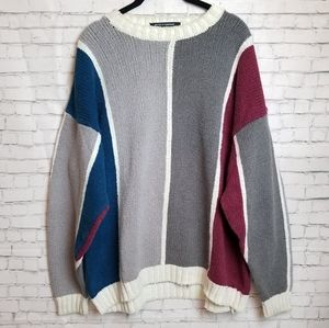 [VINTAGE- Rare!] Chunky knit color block sweater